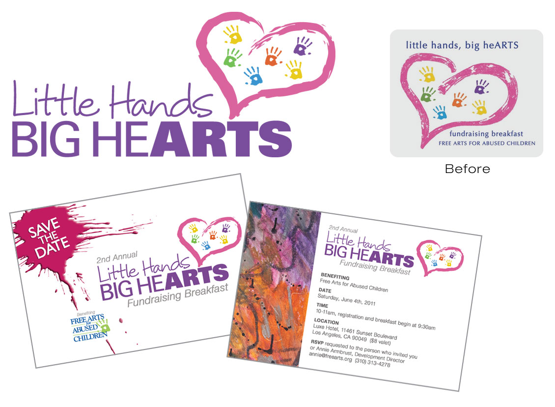 Free Arts Fundraiser logo and postcard